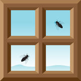 Window and fly. A wooden frame of a window, a view of the blue sky and mountains, and two flies on glass stock illustration