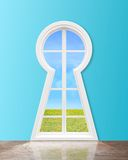 Window  in form keyhole Stock Image