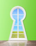 Window  in form keyhole Stock Photo