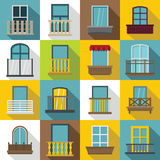 Window forms icons set balcony, flat style. Window forms icons set balcony. Flat illustration of 16 window balcony vector icons for web Royalty Free Stock Photography