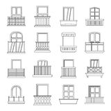 Window forms icons set balcony, outline style. Window forms icons set balcony. Outline illustration of 16 window balcony forms vector icons for web Stock Photo
