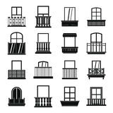 Window forms icons set balcony, simple style. Window forms icons set balcony. Simple illustration of 16 window balcony forms vector icons for web Stock Photos