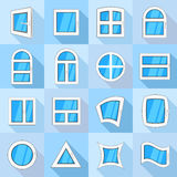 Window forms icons set, flat style. Window forms icons set. Flat illustration of 16 window forms icons set vector icons for web royalty free illustration