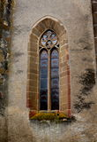 Window of the fortified medieval church Ghimbav, Transylvania Stock Image