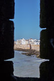 Window in the fortress. Little trip to Essaouira. Morocco stock photos