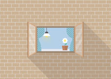 Window frame on brick background Royalty Free Stock Images