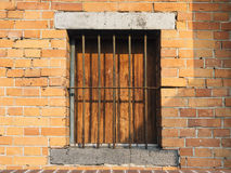 Window frame with brick wall Stock Images