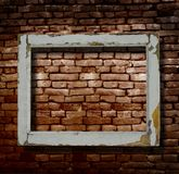 Window frame and brick wall royalty free stock photography