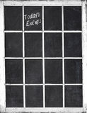 Window Frame Chalkboard - Today`s Events Stock Photo