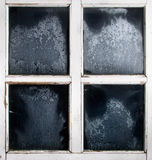 Window frame with frozen glass.  Stock Photo