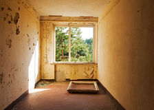 Window frame in the old and abandoned room Royalty Free Stock Photo