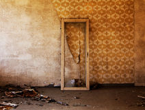 Window frame in old and abandoned room Royalty Free Stock Photo
