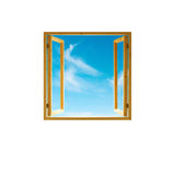 Window frame, open wooden,   sky view, isolated Royalty Free Stock Photos