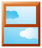 Window frame with sky view outside Stock Images