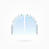 Window frame vector illustration, Eps 10. Window frame vector illustration, double closed arched window with rounded corners. White plastic window with blue sky Stock Image