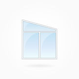 Window frame vector illustration, Eps 10. Window frame vector illustration, double modern window with trapezium top. White plastic window with blue sky glass Stock Photos