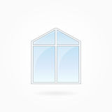 Window frame vector illustration, Eps 10. Window frame vector illustration, double modern window with triangular top. White plastic window with blue sky glass Royalty Free Stock Images