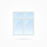 Window frame vector illustration, Eps 10. Window frame vector illustration, two-leaved square closed modern window. White plastic window with blue sky glass Stock Images