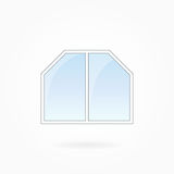 Window frame vector illustration, Eps 10. Window frame vector illustration, twofold window with two bevelled corners. White plastic window with blue sky glass Royalty Free Stock Photo