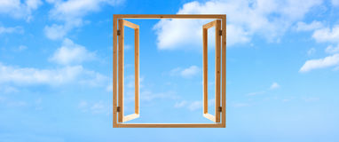 Free Window Frame Wooden Open Sky Panoramic Stock Image - 53573301