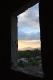 Window Framed View of Sunset in Rural Honduras Stock Image