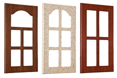 Window frames. Illustration of three modern window frames isolated on white background Stock Images