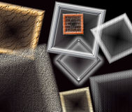 Window frames and geometrical shapes floating against a black background stock image