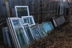 Window frames. At the fence, autumn, cloudy weather stock photo