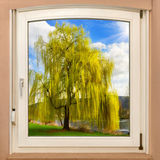 Window framing a spring scenery Royalty Free Stock Images