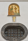 Window and fresco of Church of St. Onufriy in Lviv Royalty Free Stock Photo