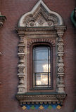Window with fretwork in pseudo-Russian style. Window of temple Savior on Spilled Blood with fretwork in pseudo-Russian style, St. Petersburg Stock Photos