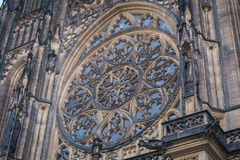 The window on the front of the gothic Vysehrad cathedral in Prague featuring beautiful windows and stone wall and pillars Royalty Free Stock Photos