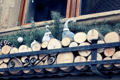 Window front with wood and birds royalty free stock image