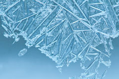 Window frost. Frozen blue color ice window. Royalty Free Stock Photos