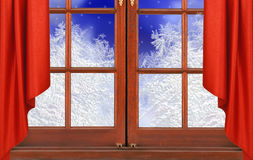 Window with frost and night snow nature. Background Royalty Free Stock Images