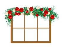 Window with the garland Stock Photo