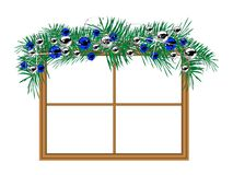 Window with the garland Royalty Free Stock Photos