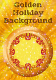 Window with Gift Boxes. Holiday Background with Round Porthole Window on Golden Wall with Gift Color Boxes, Sparks, Confetti and Place for Text. Eps10, Contains Royalty Free Stock Images