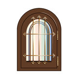 Window with gilded beams. On a white background Stock Photo