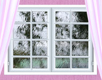 Window glass with a drop of rain Royalty Free Stock Photography