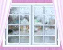 Window glass with a drop of rain Royalty Free Stock Images