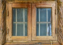 The window glass. Old wooden frame. stock photo