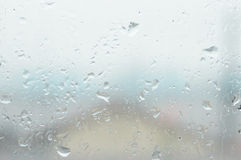 Window glass with water vapor and raindrop Royalty Free Stock Photography