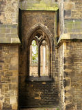Window of gothic cathedral. One windows of the ruin of an old gothic cathedral stock photos