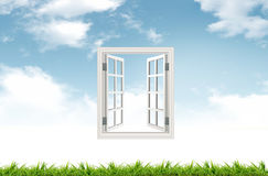 Window. The window on grass for sucess Royalty Free Stock Image