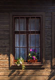 Window with grate and flowers Stock Images