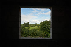 Window on green. Masuria sunny day Stock Photos