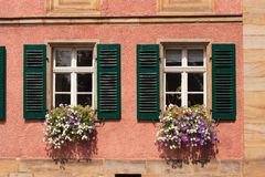 Window with green shutter Stock Photo