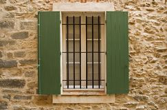 Window with green shutters Stock Photography