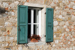 Window with Green Shutters Royalty Free Stock Images